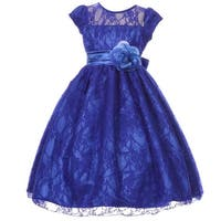Girls Royal Blue Flower Sash Lace Overlay Special Occasion Dress 8-12