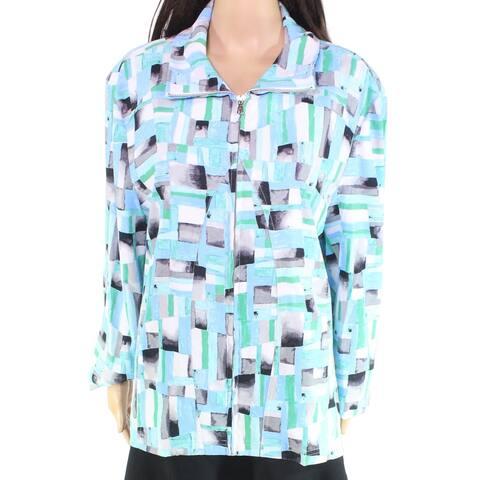 Erin London Womens Jacket Blue Green Size 1X Plus Full Zip Geo-Print