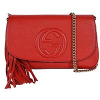 Gucci 536224 Red Leather SOHO Tassel Crossbody Purse Handbag