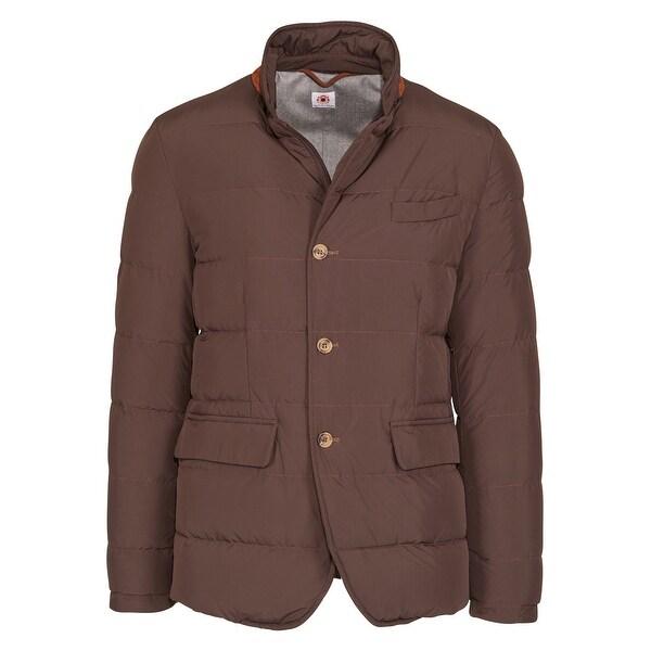 aeeadb3b4 Shop Luigi Borrelli Men's Brown Wool Quilted Puffer Button Coat ...