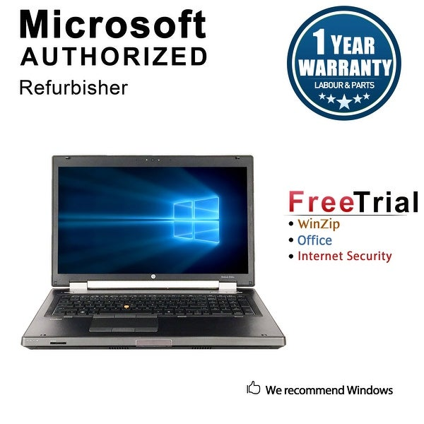 "Refurbished HP EliteBook 8760W 17.3"" Laptop Intel Core I7 2620M 2.7G 8G DDR3 500G DVDRW Win 7 Professional 64 1 Year Warranty"