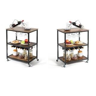 Gymax 3-Tier Rolling Kitchen Cart Utility Serving Bar Cart w/Glass Holder & Wine Rack