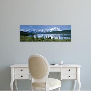 Easy Art Prints Panoramic Image 'Mountain, Lakeside, Mt McKinley, Wonder Lake, Denali National Park, Alaska' Canvas Art