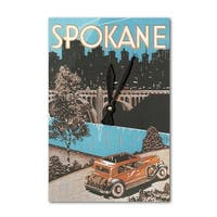 Spokane, WA - Poster #1 - Vintage Advertisement (Acrylic Wall Clock) - acrylic wall clock