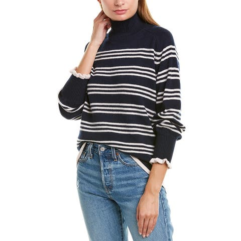 Rebecca Taylor Striped Turtleneck Wool-Blend Pullover