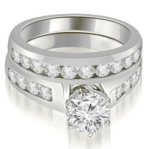 2.15 cttw. 14K White Gold Channel Set Round Cut Diamond Bridal Set