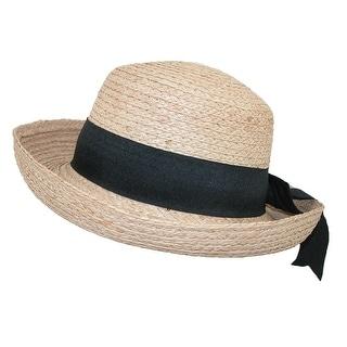 CTM® Women's Raffia Straw Braided Wide Brim Hat with Black Bow