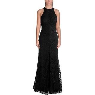 Vera Wang Womens Evening Dress Lace Slit