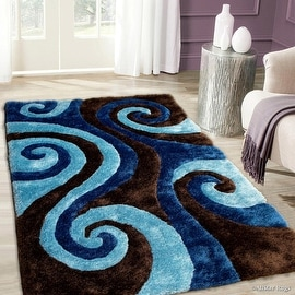 Allstar Brown Shaggy Area Rug with 3D Blue Spiral Design. Contemporary Formal Casual Hand Tufted (5' x 7')