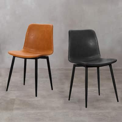 (Set of 2) Erwin Modern PU Leather Dining Chair with Black Metal Legs (2 Color Options)