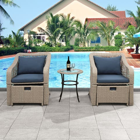 SuperBrite Outdoor Conversation Set Patio Furniture Set Bistro Set Rattan Wicker Chairs with Stools and Tempered Glass Table