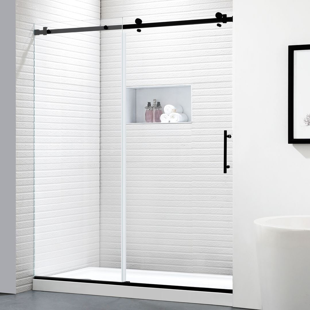 Shop Black Friday Deals On Felyl 56 60 W 76 H Single Sliding Frameless Shower Door With Heat Soaking Process And Protective Coating Clear Glass Overstock 31169991