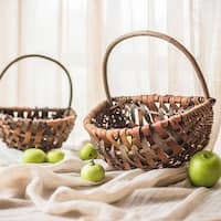 G Home Collection Rustic Natural Tree Bark Basket with Carry Handle (Set of 2)