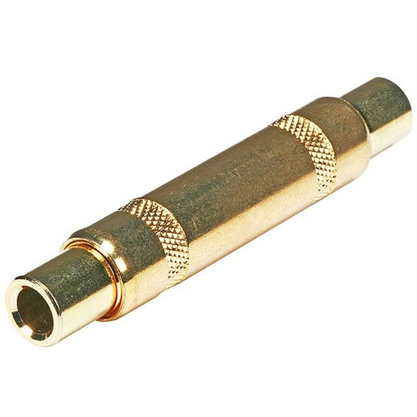 Monoprice Metal 1/4in (6.35mm) TRS Female to 1/4in (6.35mm) TRS Female Coupler, Gold Plated