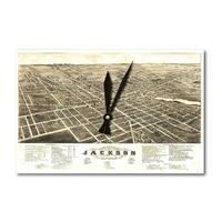 Jackson, Michigan - Panoramic Map (Acrylic Wall Clock) - acrylic wall clock