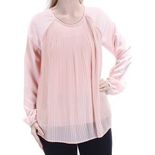 Womens Pink Long Sleeve Jewel Neck Wear To Work Top Size S