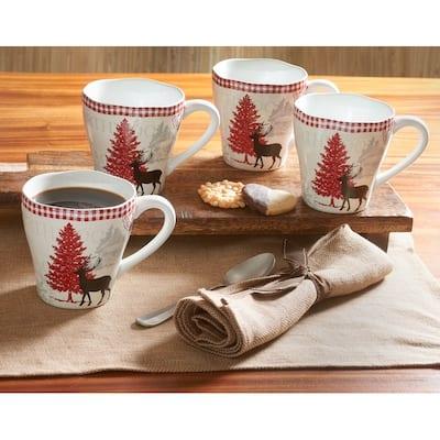 222 Fifth, Northwood Cottage - Set Of 4 Mugs, Cream