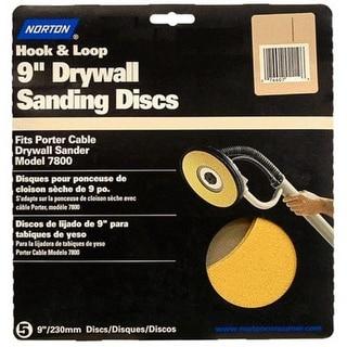 "Norton 02463 Hook & Loop Drywall Sanding Discs, 9""x5"""
