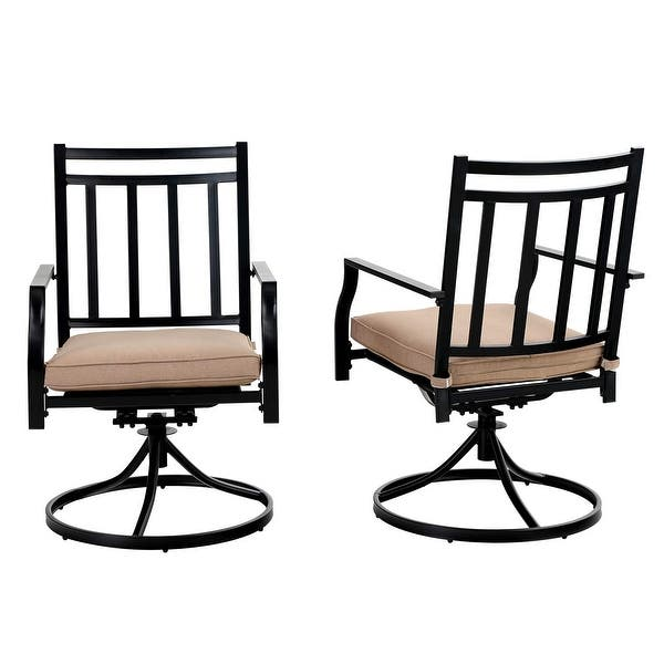 Mfstudio Patio Dining Chairs Set Of 2 Swivel Outdoor Dining Metal Chair With Cushion Support 300 Lbs On Sale Overstock 32530411