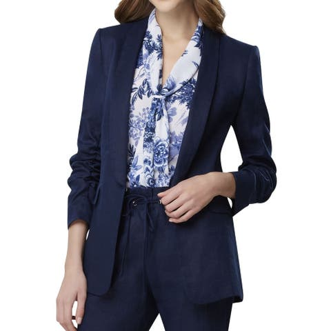 Tahari by ASL Womens Jackets Blue Size 12 Kiss-Front Ruched-Sleeve