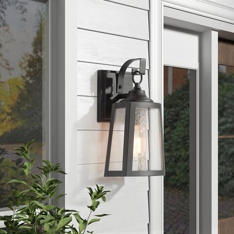 "Modern 1-Light Metal Outdoor Wall Sconce Bubble Glass Elliptical Trapezoidal Wall Light - L5.5""*W5.9""*H11"""