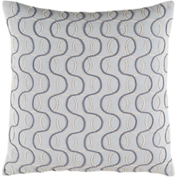 "20"" Silver, Smokey Gray and Eggshell White Woven Decorative Throw Pillow - Down Filler"