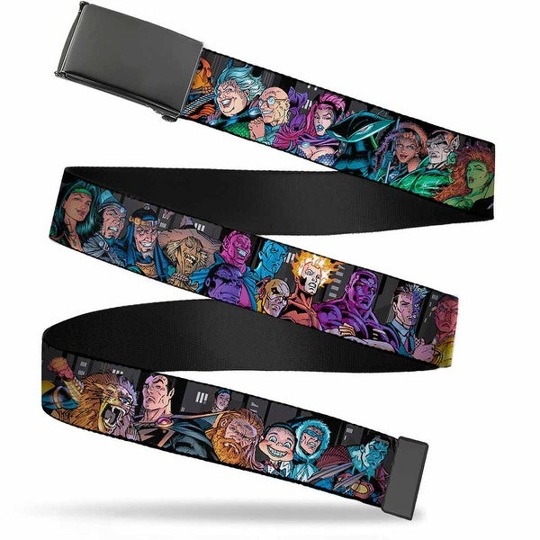"Blank Black 1.25"" Buckle Injustice League Of America Issue #13 Villains Web Belt 1.25"" Wide - M"