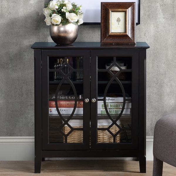 HOMCOM Wood Accent Sideboard Buffet Server Storage Cabinet with Double Framed Glass Doors, Adjustable Shelves. Opens flyout.
