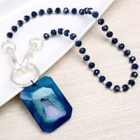 Mad Style Blue Amulet stone & link lock chain
