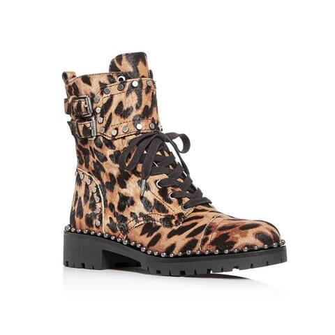 Sam Edelman Women's Calf Hair Jennifer Studded Leopard Print Combat Boots Brown