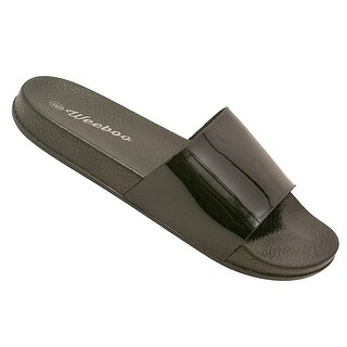 Weeboo Adult Black Patent Shine Open-Toe Trendy Slipper Sandals