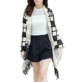 Women's Shawl Collar Checkered Pattern Leisure Cardigan (Size XS / 2)