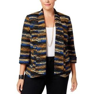 Kasper Womens Plus Open-Front Blazer Printed 3/4 Sleeve