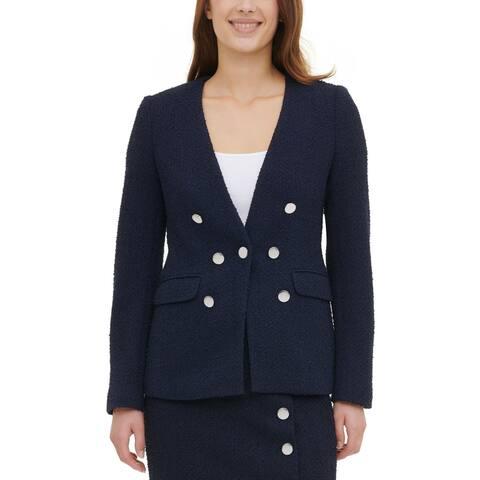 Calvin Klein Womens Blazer Textured Suit Separate - Twilight