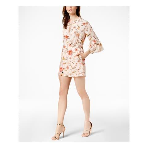 RACHEL ZOE Womens Pink Printed Bell Sleeve Romper Size 10