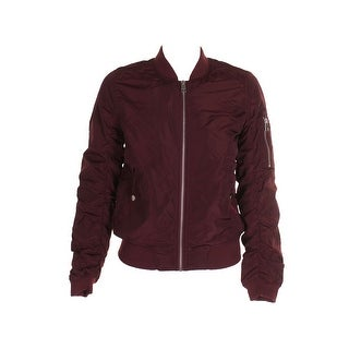 American Rag Juniors Burgundy Ruched-Back Bomber Jacket S
