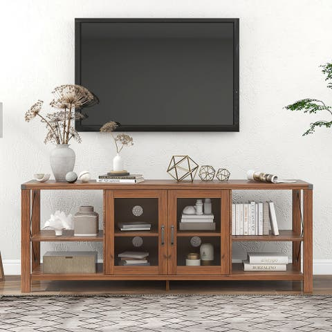 Farmhouse Storage Cabinet Entertainment Center for TVs up to 75Inches