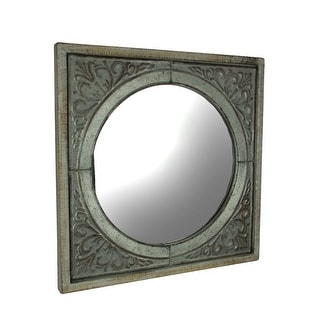 Wood Framed Embossed Metal Art Medallion Panel with Round Mirror Wall Hanging - Off-White - 23.75 X 23.75 X 1.25 inches