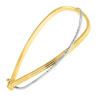 Just Gold Two-Tone Bypass Hinged Cuff Bracelet in 10K Two-Tone Gold