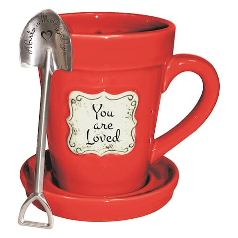 Divinity Boutique You Are Loved Flower Pot Mug - Garden is Made With Love Spoon & Saucer - Red 14oz - 4.5 in.