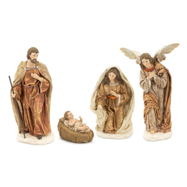 Set of 4 Nativity Baby Jesus, Mary, Joseph and an Angel Scene Christmas Table Top Figurines 11.5""