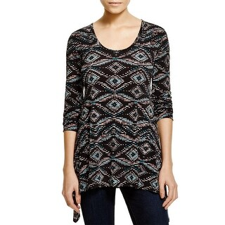 Karen Kane Womens Gemini Casual Shirt Matte Jersey Printed