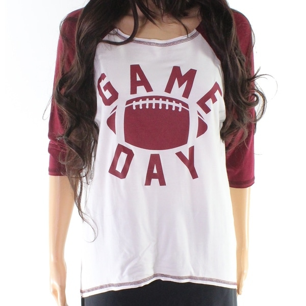 """Moa Moa Burgundy Womens Small """"Game Day"""" Knit Top"""