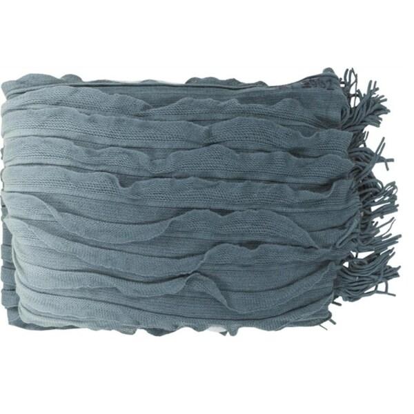 "50"" x 60"" Pale Blue and Teal Elegant Autumn Throw Blanket"