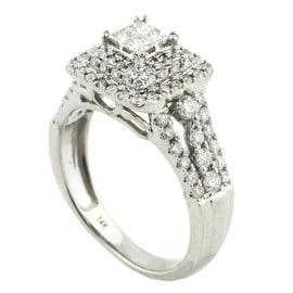 Princess Cut Diamond Wedding Ring For Her 14K White Gold 1.00ctw Vintage 10mm Wide(i2/i3, i/j)