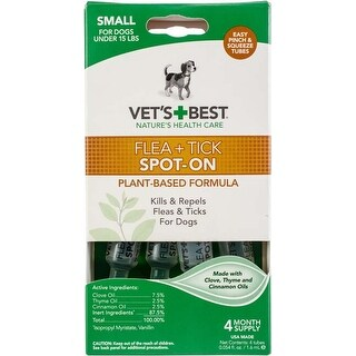 Small Dogs Under 15Lbs - Vet's Best Flea & Tick Drops 4Ct