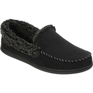 Dearfoams Men's Microsuede Whipstitch Moccasin Slipper Black Microsuede