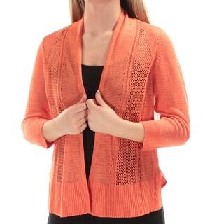 ALFANI $59 Womens New 1668 Coral Textured 3/4 Sleeve Sweater XS B+B