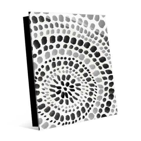 Kathy Ireland Radiant Dots in Black on White Abstract on Acrylic Wall Art Print