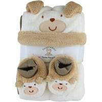 Snugly Baby 3 Pc Set Tan Fleece Baby Blanket w/ Booties & Hat